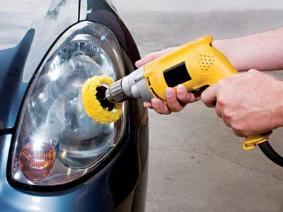 auto detail headlight polish